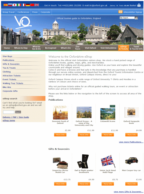 The Visit Oxfordshire eShop home page