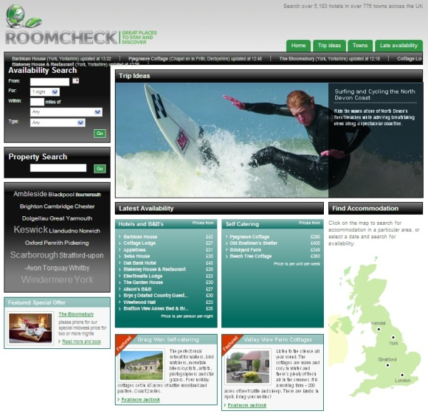 Roomcheck homepage features enhanced entries which have recently updated