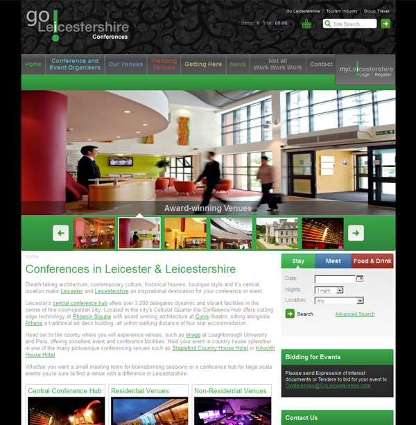Go Leicestershire Conferences website