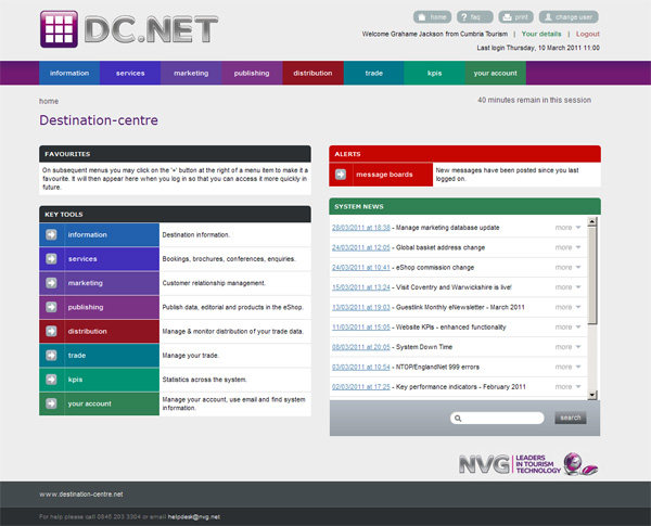 Your home page of DC.Net shows your favourites and