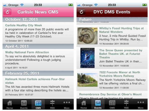 Use of CMS and events RSS feeds to provide content in the Visitor News iPhone app.